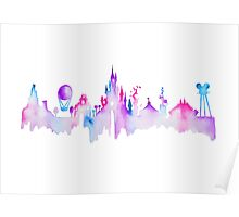 Paris Magic Theme Park Watercolor Skyline Silhouette Poster