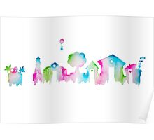 Nintendo Animal Crossing New Leaf Watercolor Skyline Silhouette Poster