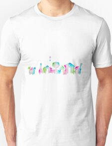 Animal Crossing New Leaf Inspired Watercolor Skyline Silhouette T-Shirt