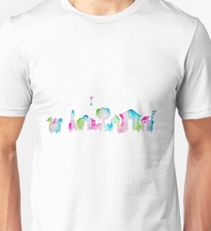 Animal Crossing New Leaf Inspired Watercolor Skyline Silhouette Unisex T-Shirt
