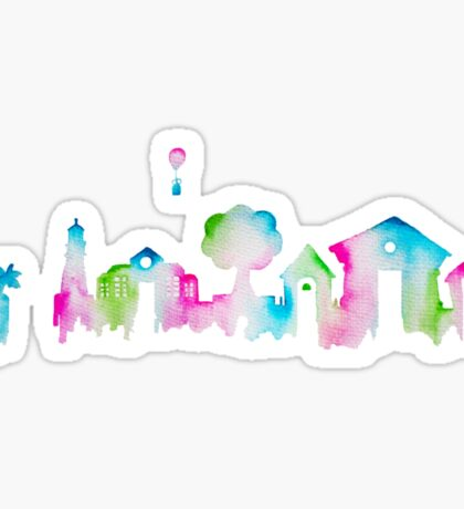 Animal Crossing New Leaf Inspired Watercolor Skyline Silhouette Sticker