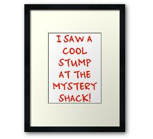 I Saw A Cool Stump At The Mystery Shack! Framed Print