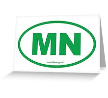 Minnesota MN Euro Oval GREEN Greeting Card