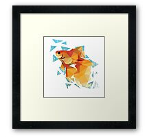 Low Poly Goldfish Framed Print