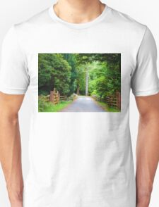 Countryside road through the forest  Unisex T-Shirt