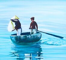 Two Chinese Boys Fishing by Jane Adrianson
