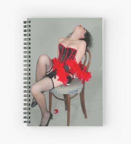 Young sexy woman in corset and fishnet stockings  Spiral Notebook