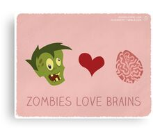 Zombies Love Brains Canvas Print