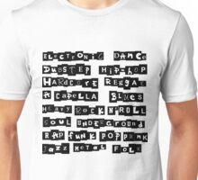 Music genres list Unisex T-Shirt