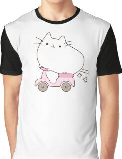 Cute Kawaii Scooter Cat Graphic T-Shirt