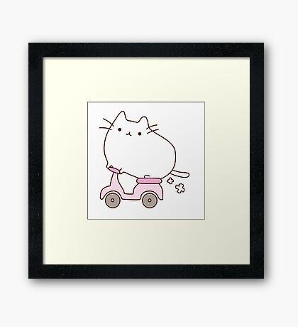 Cute Kawaii Scooter Cat Framed Print