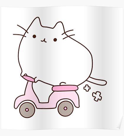 Cute Kawaii Scooter Cat Poster