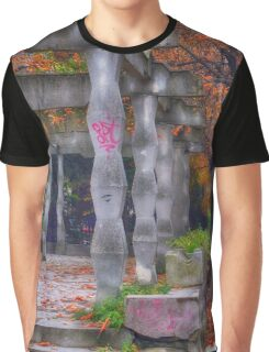 Photography of rhomboidal columns and autumn leaves in Targoviste, Romania Graphic T-Shirt