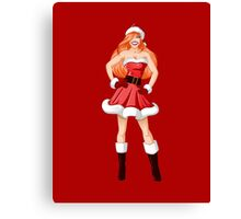 Woman Dressed In Sexy Santa Clothes For Christmas Canvas Print