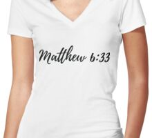 Matthew 6:33 Women's Fitted V-Neck T-Shirt