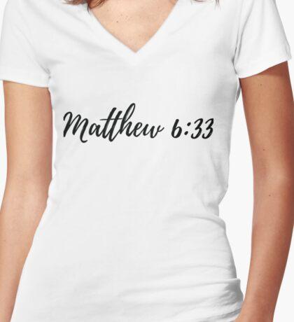 Matthew 6:33 Women's Fitted V-Neck T-Shirt