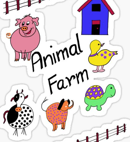 Farmyard Scene brightly coloured for kids and babies Sticker