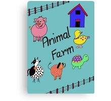 Farmyard Scene brightly coloured for kids and babies Canvas Print