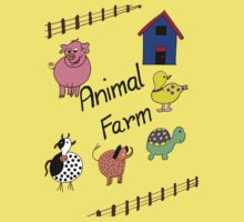 Farmyard Scene brightly coloured for kids and babies One Piece - Short Sleeve