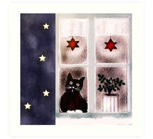 Katze schaut aus dem Fenster Art Print