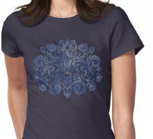 Indigo Blue Denim Ink Doodle Womens Fitted T-Shirt