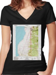 USGS TOPO Map California CA Willow Ranch 102564 1993 24000 geo Women's Fitted V-Neck T-Shirt