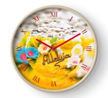 Catkins and yellow Easter cake  Clock
