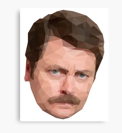 Ron Swanson Low Poly Canvas Print