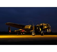 Avro Lancaster Engine run at night Photographic Print