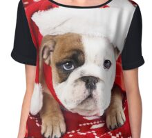 Santa Hat Puppy Chiffon Top