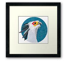 Secretary bird portrait in felt Framed Print