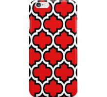 Black and White Quatrefoil Pattern on Red iPhone Case/Skin