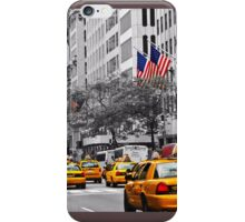 Color in 5th Ave Yellow Cabs plus Stars and Stripes iPhone Case/Skin