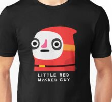 Little red masked man (white text) Unisex T-Shirt