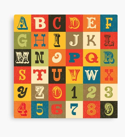 Vintage Alphabet Canvas Print