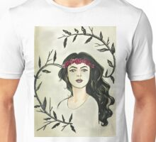 Watercolor // Girl in Flower Crown  Unisex T-Shirt