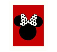 Mouse Ears with Black & White Spotty Bow Art Print