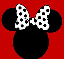 Mouse Ears with Black & White Spotty Bow by BethannieeJ