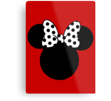 Minnie Mouse Ears with Black & White Spotty Bow Metal Print