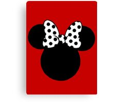 Minnie Mouse Ears with Black & White Spotty Bow Canvas Print