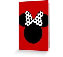 Minnie Mouse Ears with Black & White Spotty Bow Greeting Card