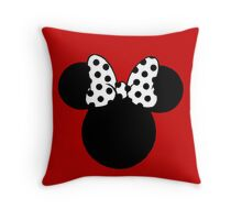 Mouse Ears with Black & White Spotty Bow Throw Pillow