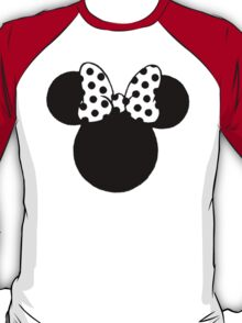 Minnie Mouse Ears with Black & White Spotty Bow T-Shirt