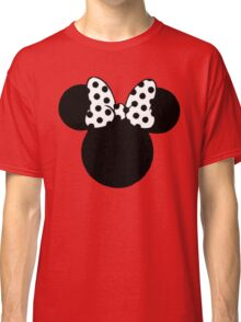 Mouse Ears with Black & White Spotty Bow Classic T-Shirt