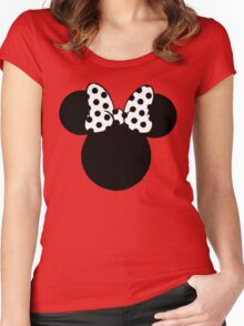 Mouse Ears with Black & White Spotty Bow Women's Fitted Scoop T-Shirt