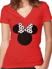 Mouse Ears with Black & White Spotty Bow Women's Fitted V-Neck T-Shirt