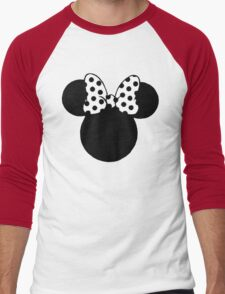 Mouse Ears with Black & White Spotty Bow Men's Baseball ¾ T-Shirt