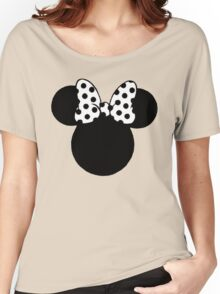 Mouse Ears with Black & White Spotty Bow Women's Relaxed Fit T-Shirt