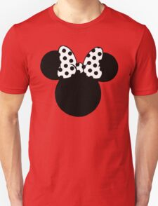 Mouse Ears with Black & White Spotty Bow Unisex T-Shirt