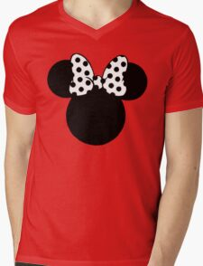 Mouse Ears with Black & White Spotty Bow Mens V-Neck T-Shirt